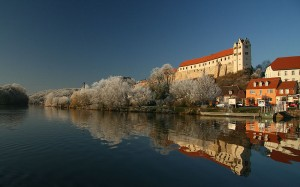 Wettin Castle -Germany on bank of saale